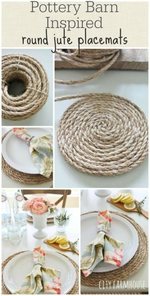 All you need for this project is 3/8″ jute and a hot glue gun. As you go around press firmly before adding glue to the next length of jute.