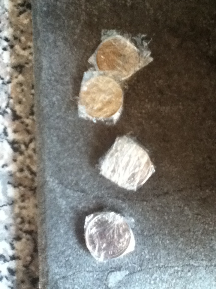 Some of the coins I wrapped.