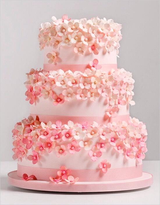 Pink flower field cake