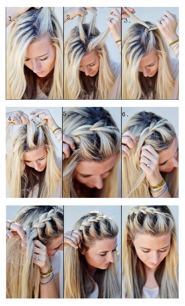 Easy French plaits  Split section of hair into 3 then start to plait as normal but each time add a piece of hair to the left and the right