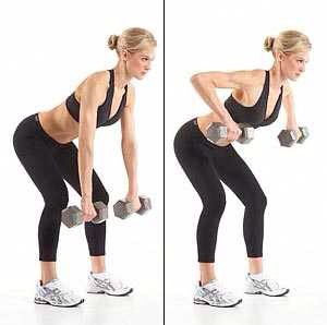 Dumbbell rows work best for your scapula or the two big muscles on your upper back. With dumbbells on both hands, stand with your knees slightly bent and your torso forming a 45-degree angle. You can then raise your arms as your elbows become parallel with your back. The forearms should be hanging.