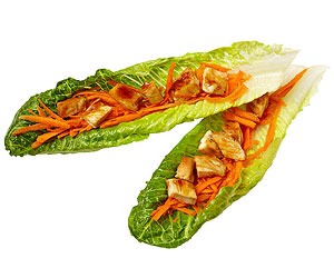 Lettuce wraps with grilled teriyaki chicken and carrots  Air-popped popcorn  Mandarin orange