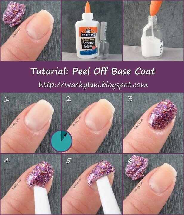 Use glue as a base coat for easy peel off and longer lasting nail polish