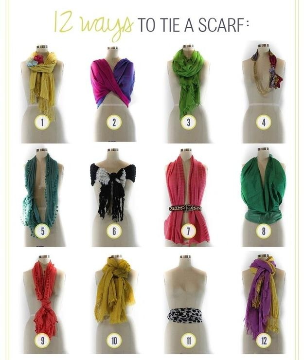 16. Here are 12 ways to tie a scarf.