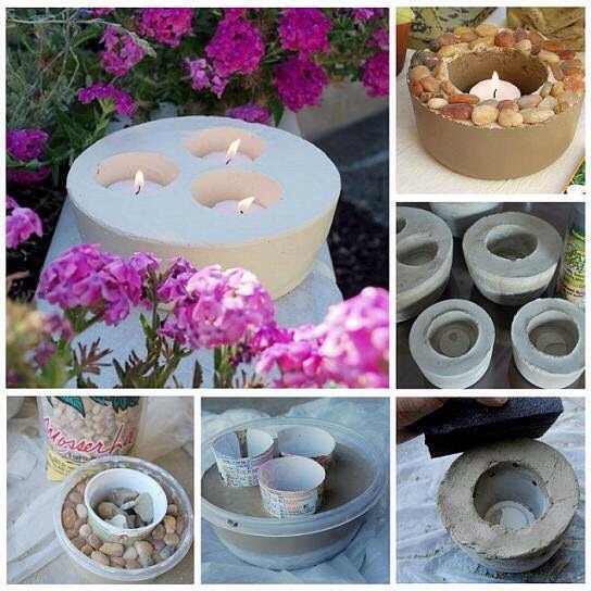 I absolutely love this idea! These DIY cement candle holders are just so bulky and solid looking. I know something similar at the store would easily cost $30 or more. Especially a detailed one with accent pebbles.