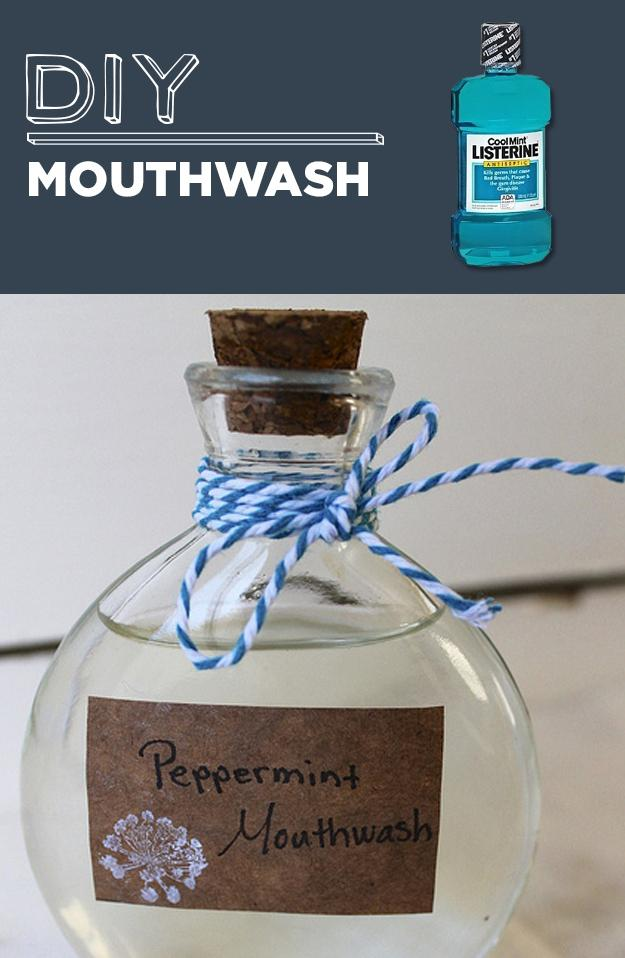 14. DIY Mouthwash  Peppermint Herbal Mouthwash  1/2 c. aloe vera juice (like this) 1/4 c. water 1 tsp witch hazel (like this) 1 tsp baking soda 10 drops peppermint essential oil