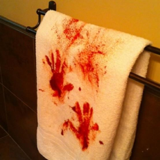 24. Blood-Stained Towel for the Bathroom  You just have to be willing to ruin one of your nice fluffy white towels, but the effect will be worth it.