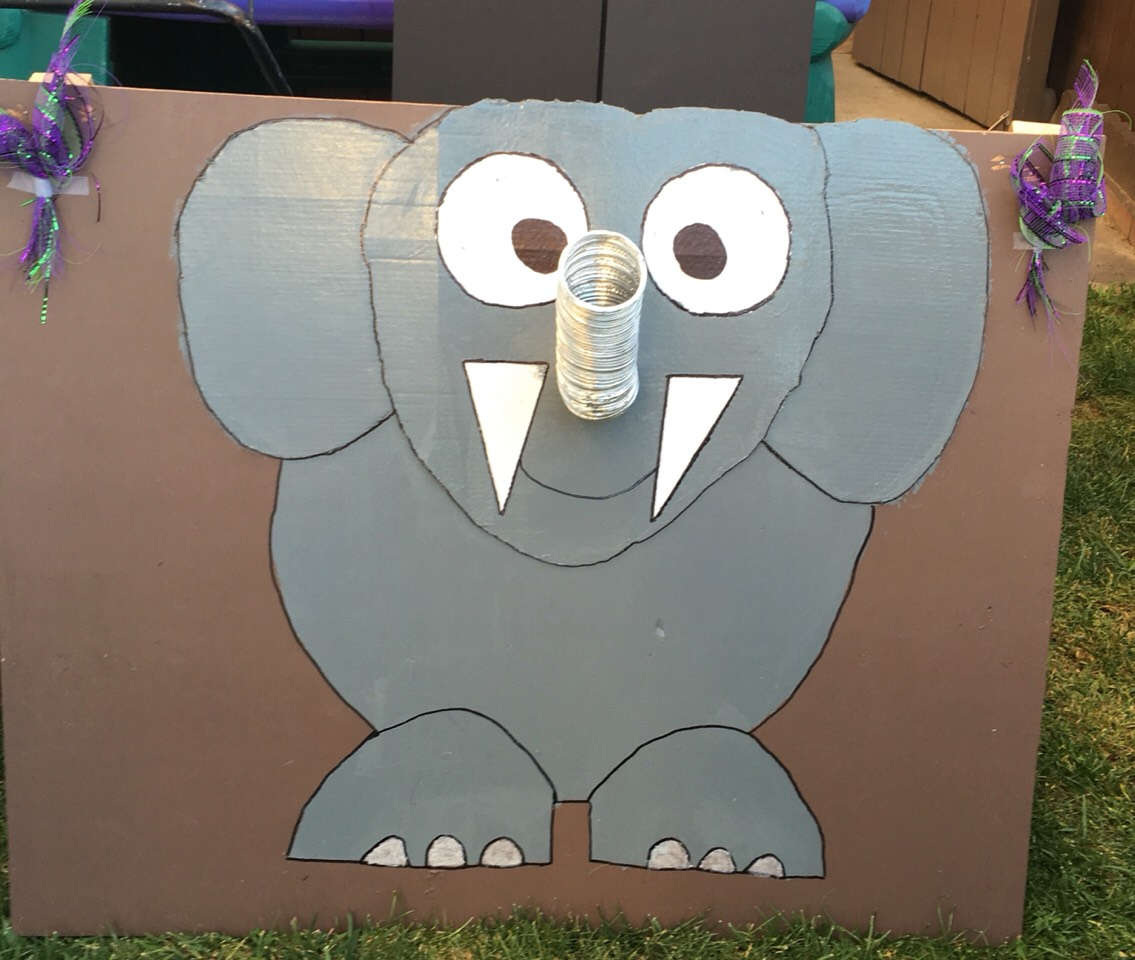 And now you have the elephant game just line a box in the back with the other tube the poster board can go on top this box as a backboard to collect and the ping pong balls you can throw