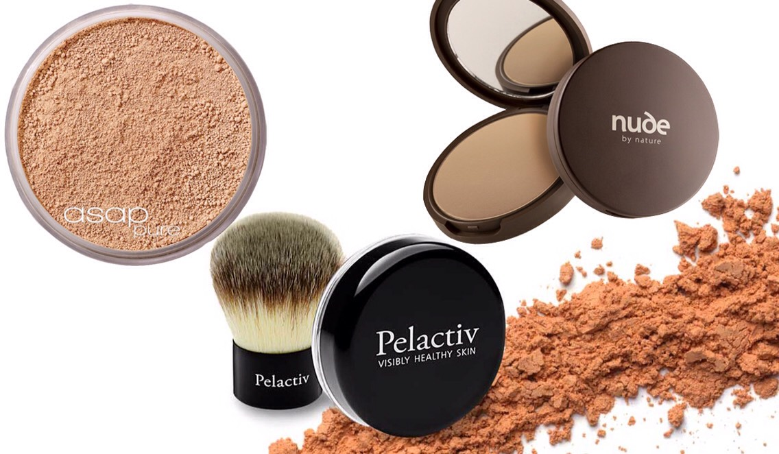 PICTURED |  1.ASAP Pure Mineral Make-up 2.Pelactiv Mineral Powder Foundation 3.Nude by Nature Pressed Mineral Cover
