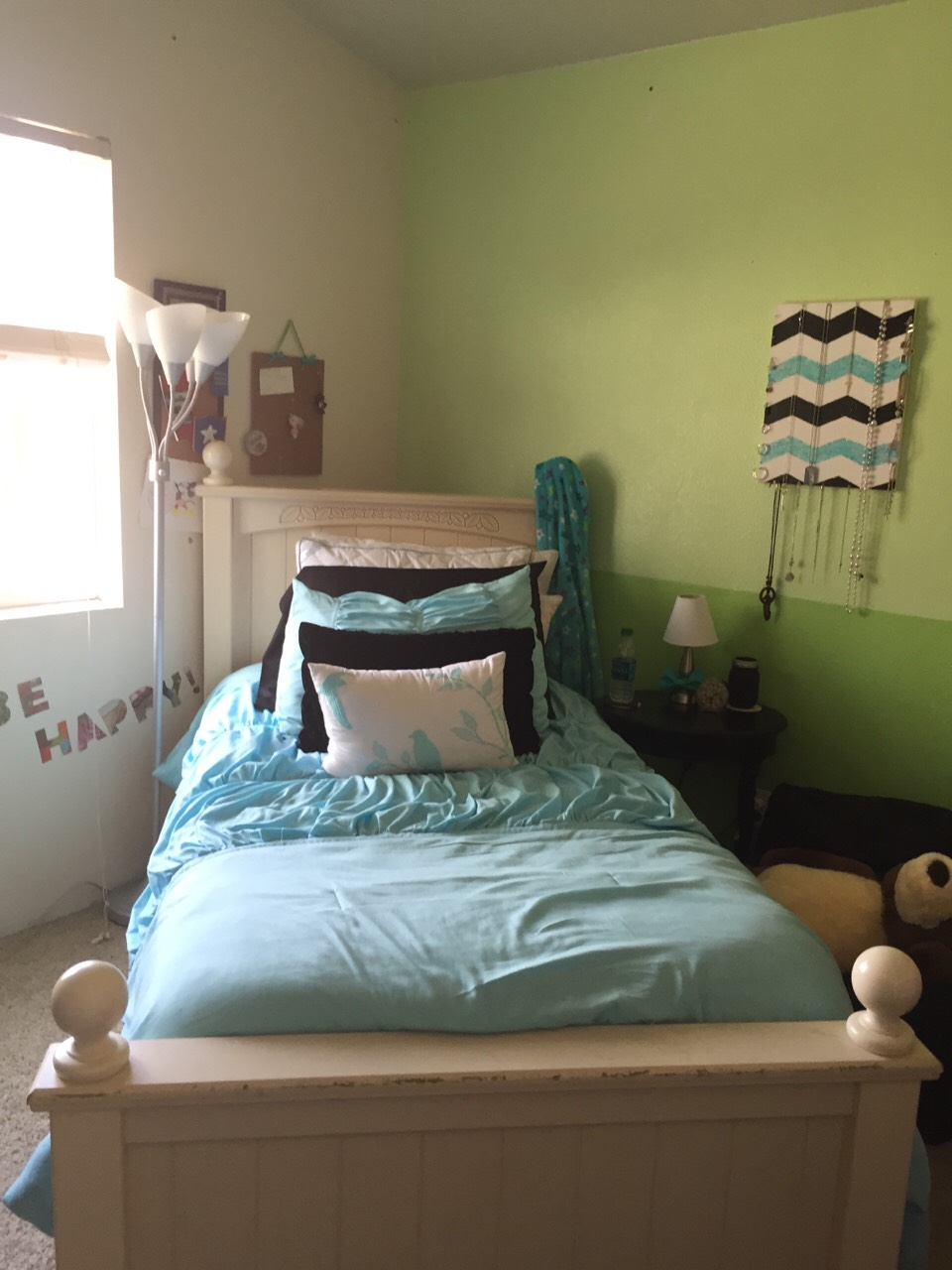 Here is my room after cleaning, organizing, and decorating my room...