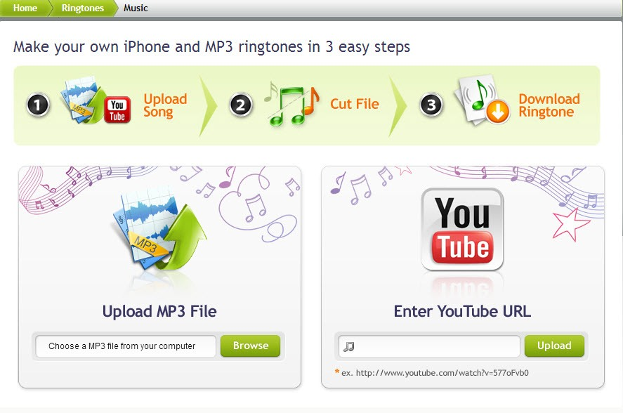 This website allows you to make your own ringtones and download right to your computer. www.free-ringtones.cc/
