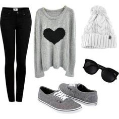 Black jeans grey shoes white Hat and gray sweater