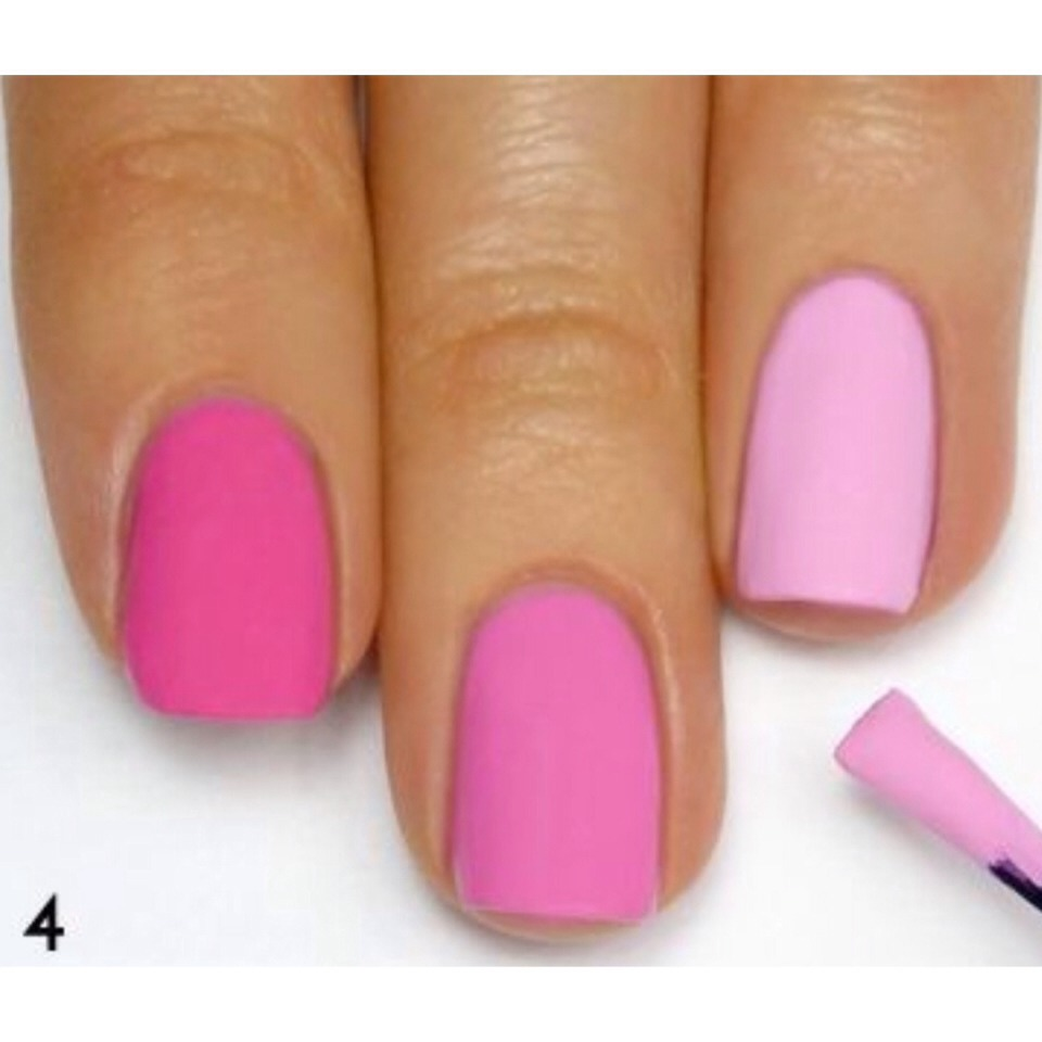 Paint each nail with each color, dark to light or light to dark, use a clean brush each time.