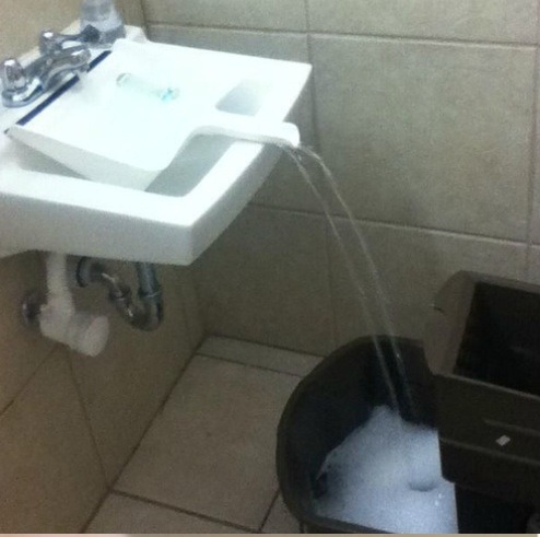 Bucket too big to fit in the sink? Try a dust pan!