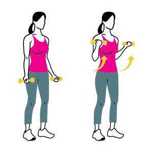 Bicep curls ( do 20 ) w/ weights . Substitute the weights for something else if you don't have it