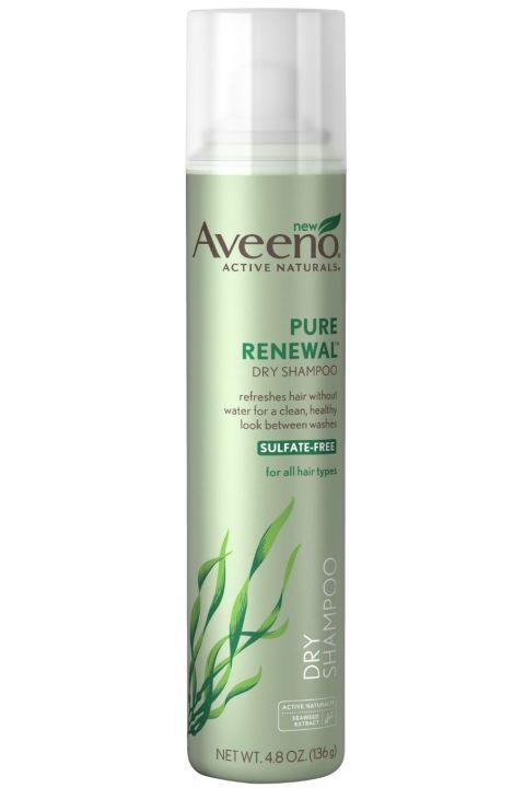 15. Aveeno Pure Renewal Dry Shampoo Perfect for the days when a real wash isn't an option, Aveeno's dry shampoo soaks up all unwanted grease and gives your hair a fresh bounce. Because really, sometimes showering is just, like, a lot.