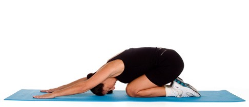 LYING SHOULDER STRETCH: Lie on your back and bend your knees, keeping your get flat on the floor. Place your hands under your lower back, so your elbows point out at your sides.
