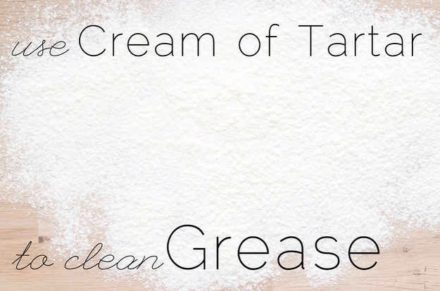 A sprinkle of cream of tartar on a wet sponge can remove gunk from metal appliances you keep near the stovetop