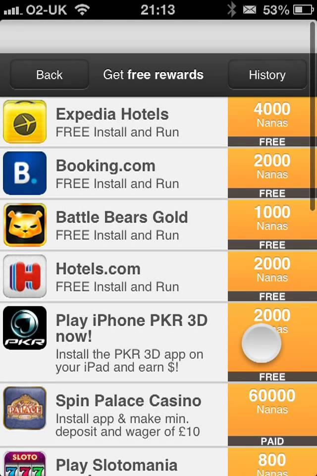 you can earn nana points by completing offers, like installing applications or watching videos