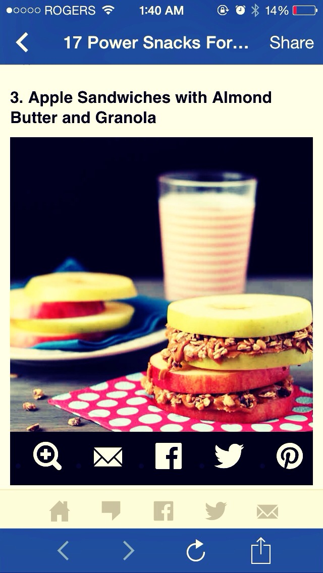 Apples are cancer fighting and delicious! Slice them up and mix up peanut butter and granola for an apple sandwich!