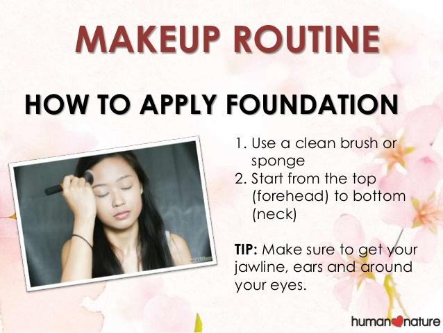 Starting from top to bottom will help you use less foundation and also brushing downwards will help you avoid face peach fuzz showing.