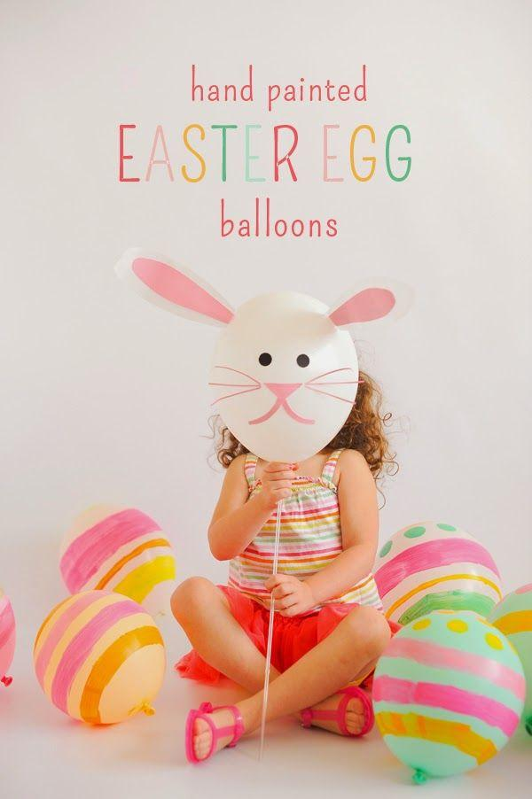 Blow up balloons and let the kids paint or use a sharpie carefully for fun Easter egg balloons
