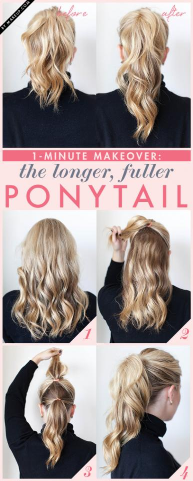 7. Fake a fuller ponytail by doing the double-ponytail trick.