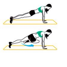OBLIQUE 'PLANK CRUNCH': from the hand plank position bring your right leg under you and crunch it up slowly to touch your knee to the opposite elbow. Hold for a second, return to start position and repeat one the other leg, alternating. 10 on each side (20 total)