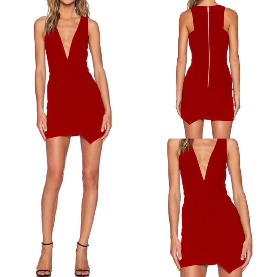 $19.00 http://m.romwe.com/Red-Deep-V-Neck-Zipper-Bodycon-Dress-p-148071-cat-729.html