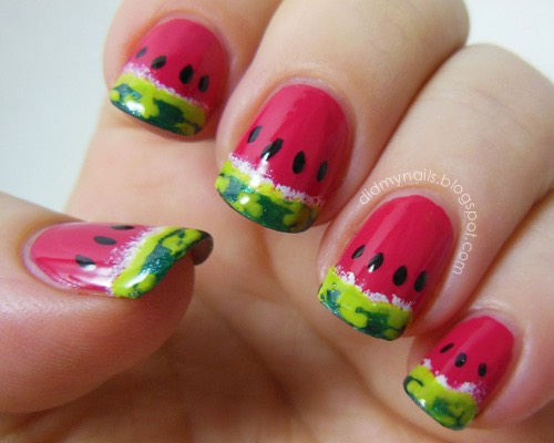 These here are watermelon nails. Also very unique. I think all nail polish is cute!