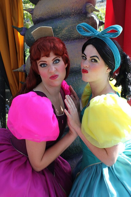 Anastasia & Drizella Can be found by the castle wall in Fantasyland.