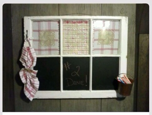The panes with the fabric can be used as dry-erase boards.