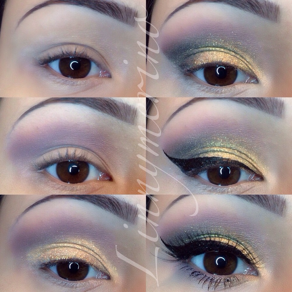 Ok here's the pictorial! 1. Started off by priming my eye with Urban Decay Primer Potion in Original 2. Blended a rosy grayish color from Coastal Scents 28 Neutral Palette into my crease and a white vanilla color on my brow bone 3. Patted Maybellines Color Tattoo in Gold Rush all over my lid -->