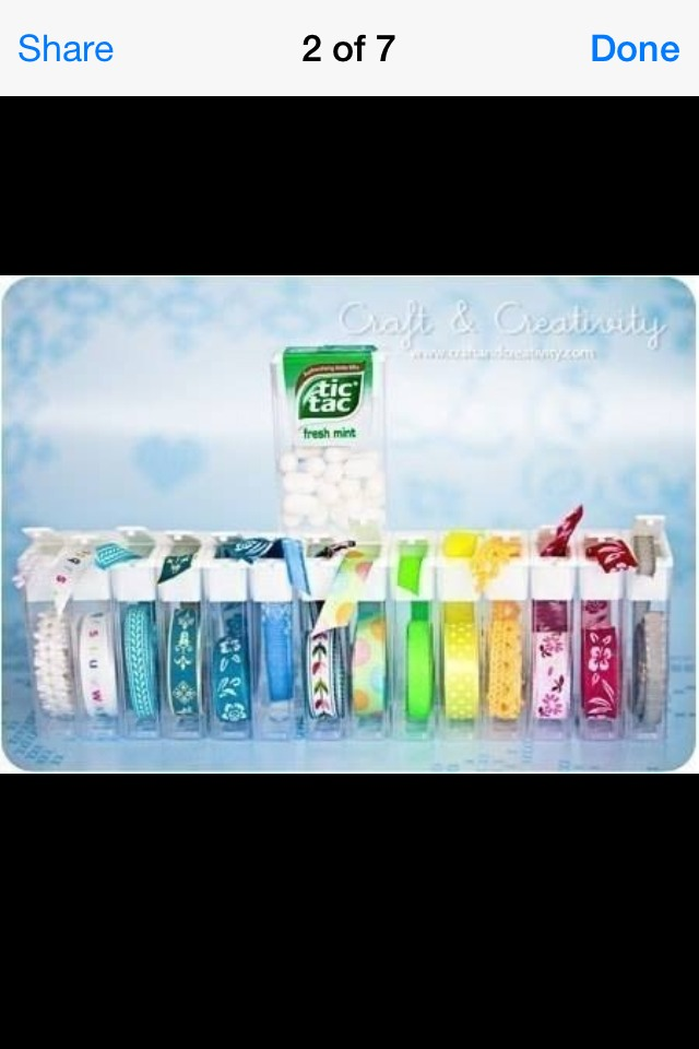 Store ribbon in tic tac containers.