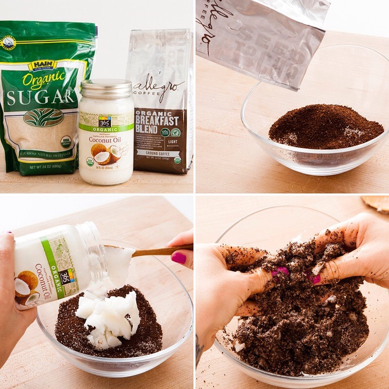 INSTRUCTIONS  Coffee +sugar join forces outside the mug to make this scrub that's bound together by coconut oil. Don't even reach for the spatula with this mixture: the warmth from your hands will melt the coconut oil like a dream. Plus, it's an excuse to get down + dirty!