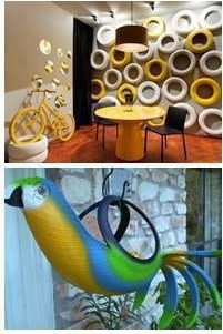 Need a wall feature in your home? Paint some old tires and attach them to the wall – it looks funky, fresh and very modern  Old thin tires can be transformed in to hanging plant / flower baskets with a design of your choice