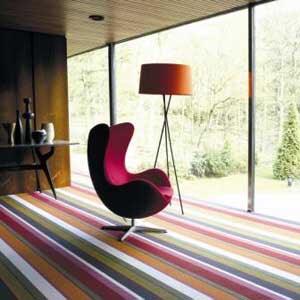 Use stripes to elongate a room.