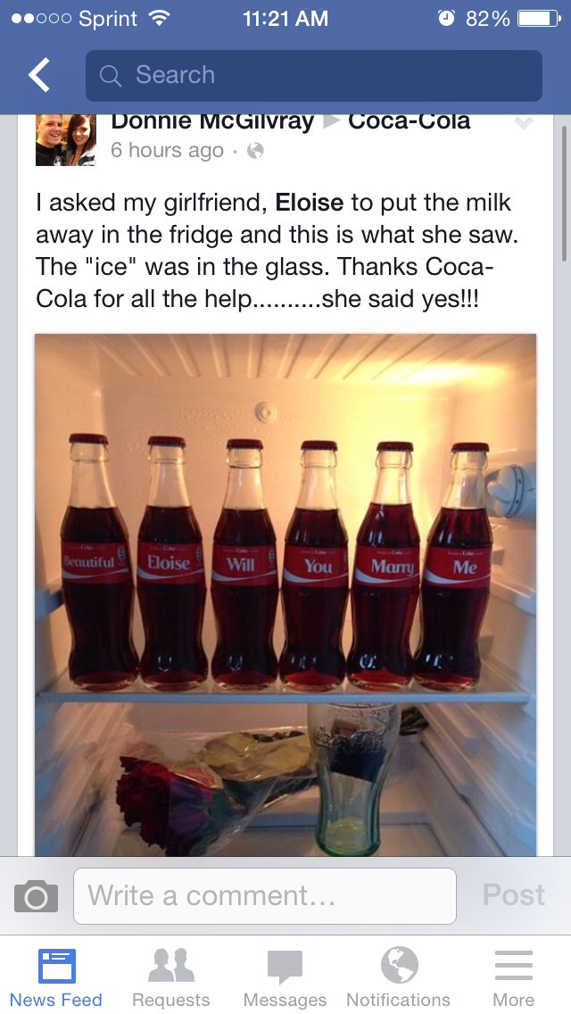 "I saw this on Facebook and I just had to screen shot it. ""Beautiful Eloise will you marry me"". Just imagine opening the fridge to this 😍"
