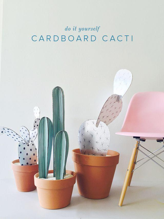 DIY cardboard cacti plants! These are so cute for room deco, or just to give to a friend as a sweet gift. Learn how to make this here:  http://thehousethatlarsbuilt.com/2015/06/diy-cardboard-cacti.html/#comments