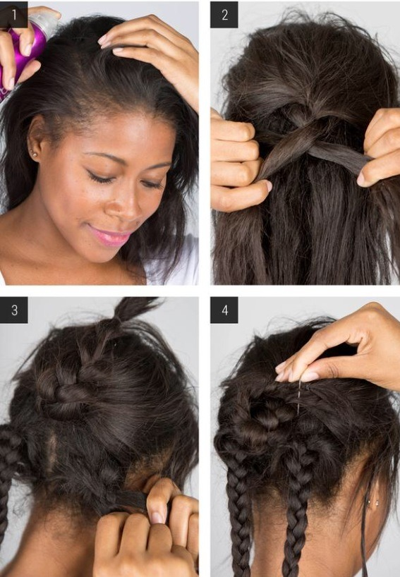 1. Add thickening spray to your roots.  2. Tease the hair at your crown and begin braiding. 3. Create two pigtail braids with the remaining hair and lock them in place with elastic hair bands. 4. Wrap the center braid around itself and pin it into place with bobby pins.
