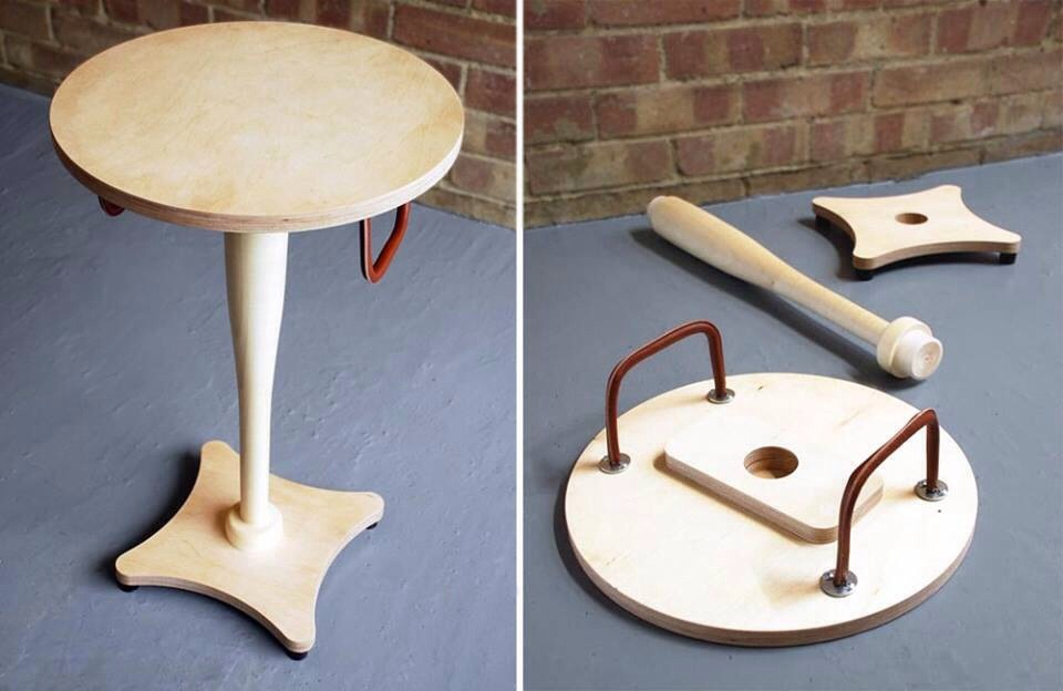 Otherwise known as the Safe Bedside Table simply take off the top to use as a shield, grab the leg to use as a club