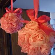 Room Decor! Use the tissue and ribbon from the bag to make flower balls!