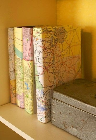 Cover old books with your old maps to make a new look