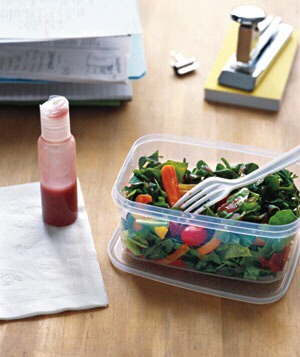 Fill with your favorite dressing from home and toss it in your lunch kit.   Please like 👍