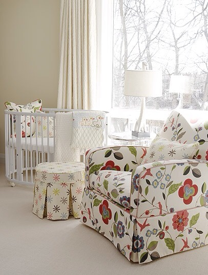 Make a Patterned Chair the Focus  With many of these rooms the crib is the focus point, whereas this room uses a chair.