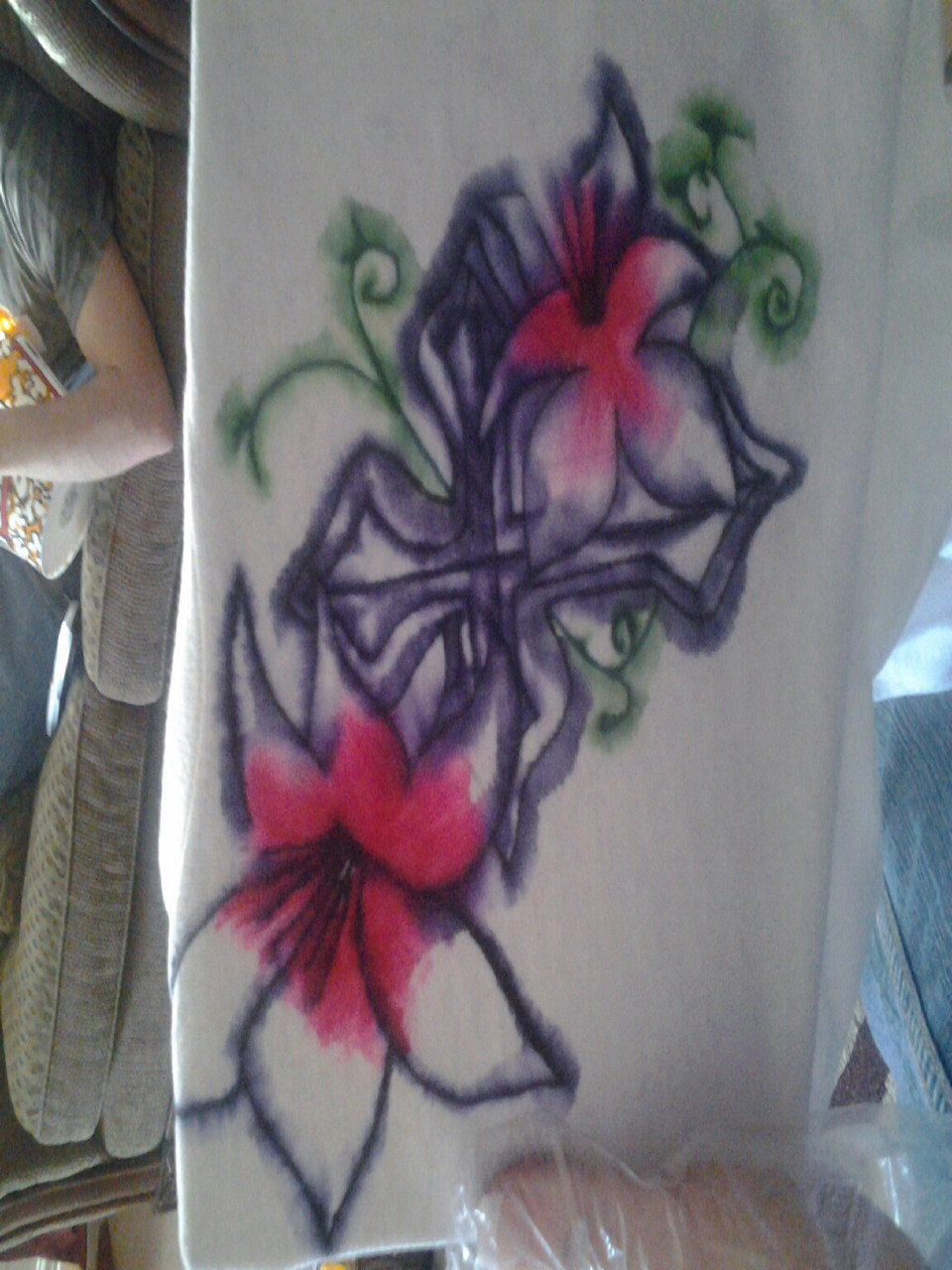 Put a white shirt on card board Use sharpies to draw a design you can even use stencils  put rubbing alcohol all over the design and rap it in plastic rap let it sit for 24 hours wash and dry! This is a super easy fun project to do great for kids!