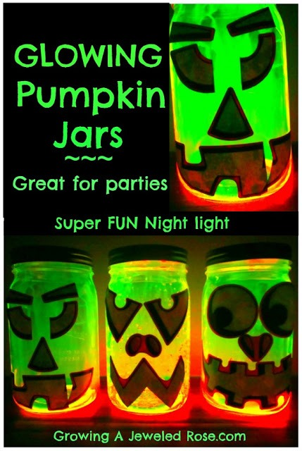 Just tape some black construction paper cut into a jack-o-lantern face on the inside of a mason jar. Then activate a glow stick, cut it open and pour the contents inside the jar. Shake the jar and you've got a spooky homemade night light!  Please like :)