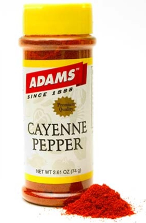 And finally 1/3 with cayenne pepper.
