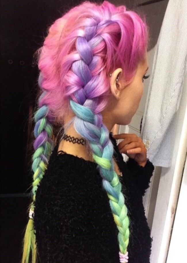 21. Dyed Cotton Candy Pastel Hairstyles: