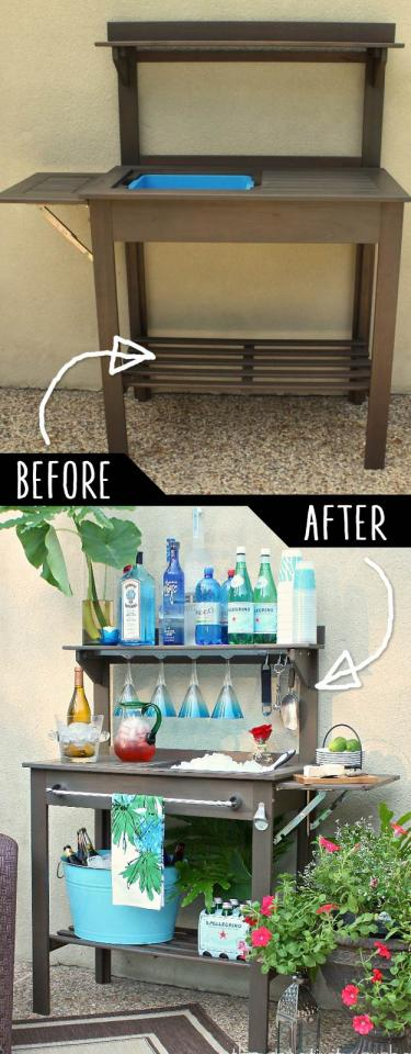 Potting Bench Turned Outdoor Bar   http://www.thecreativityexchange.com/2012/05/potting-bench-turned-outdoor-bar.html